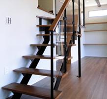 スチール製L型階段(上3段廻り)