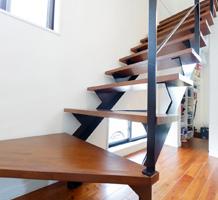 スチール製L型階段(下2段廻り)